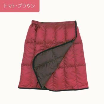 羽毛のショート巻きスカート:トマト・ブラウン
