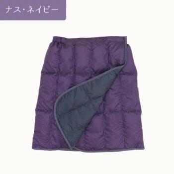 羽毛のショート巻きスカート:ナス・ネイビー
