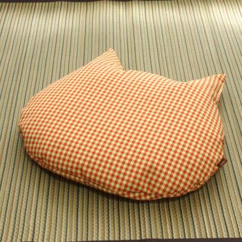 猫のしあわせ座布団:オレンジチェック